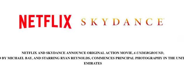 Netflix Film 6 UNDERGROUND by Michael Bay, starring Ryan Reynolds – Start of Principle Photography in the United Arab Emirates